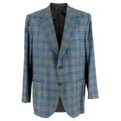 Donato Liguori Green & Blue Wool Blend Tailored Single Breast Jacket - Size XL