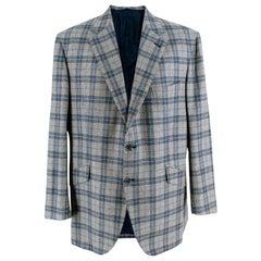 Donato Liguori Grey & Blue Checkered Tailored Blazer Jacket - Size Estimated XL