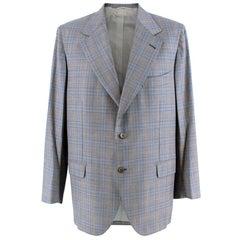 Donato Liguori Grey Checkered Wool Blend Tailored Jacket - Estimated Size XL