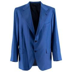 Donato Liguori Navy Fine Striped Tailored Blazer - Size Estimated XL