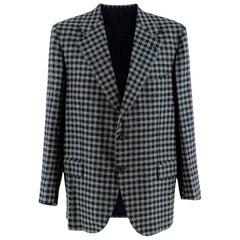 Donato Liguori Navy & Grey Gingham Cashmere Tailored Jacket - Size Estimated XL