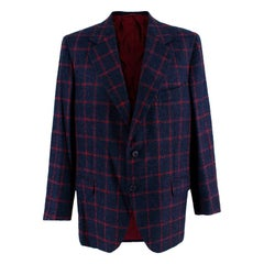 Donato Liguori Navy & Red Cashmere & Mohair blend Tailored Jacket - Size XL