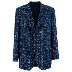 Donato Liguori Navy & White Cotton Blend Tweed Tailored Jacket - Size XL