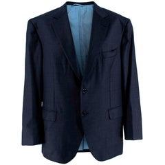 Donato Liguori Navy Wool Blend Checkered Tailored Single Breast - Estimated XL