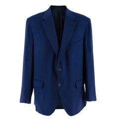 Donato Liguori Navy Wool Blend Hand Tailored Jacket - Size XL