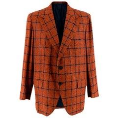 Donato Liguori Orange Cashmere & Mohair Hand Tailored Jacket - Size Estimated XL
