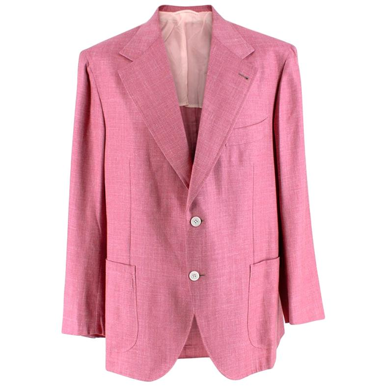 Donato Liguori Pink Cotton Blend Tailored Blazer Jacket - Size XL