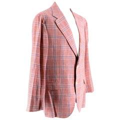 Donato Liguori Red & Blue Check Wool & Cotton blend Tailored Jacket - Size XL