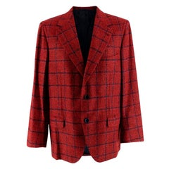 Donato Liguori Red Checkered Cashmere Blend Tailored Jacket - Size Estimated XL