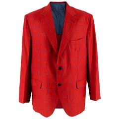 Donato Liguori Red Checkered Cotton Blend Tailored Blazer Jacket - Size XL