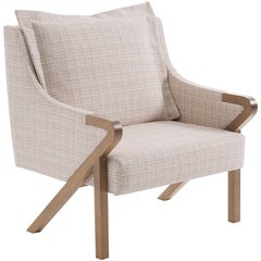 Donatta Armchair, Contemporary Style, Wooden Brazilian Feet