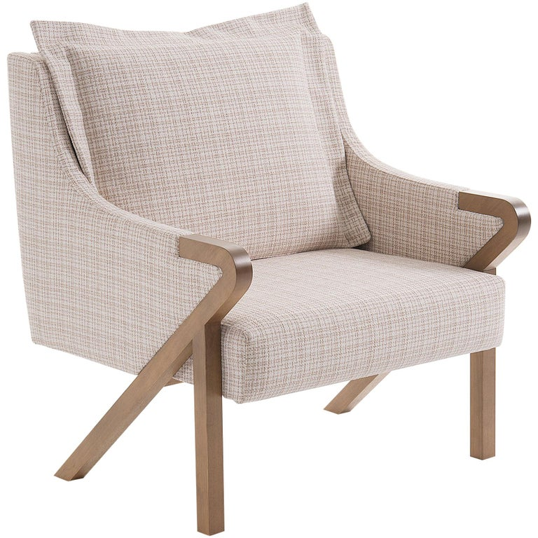 Donatta Armchair Contemporary Style Wooden Brazilian