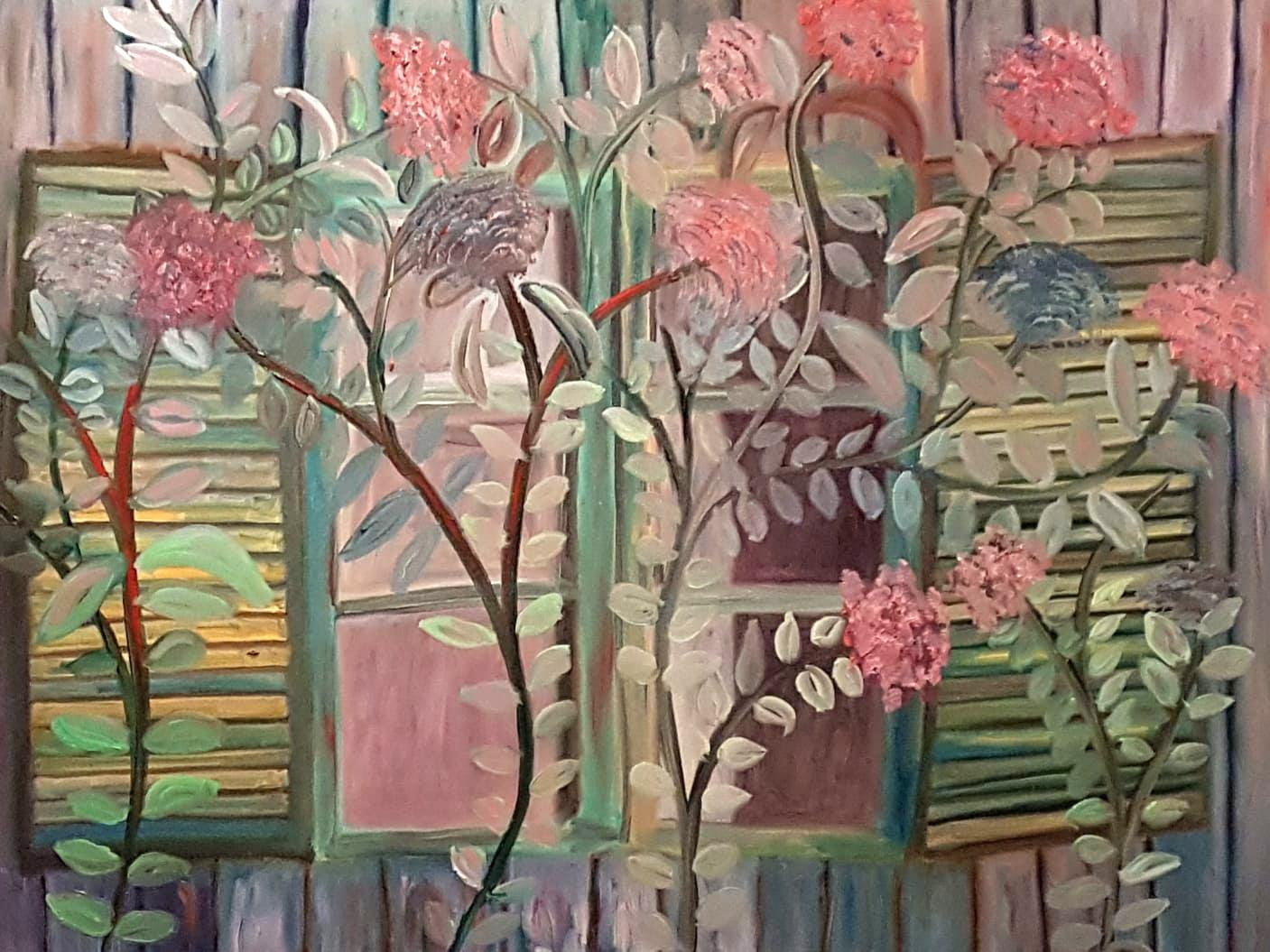 "Dondi Schwartz, ""Windows of Opportunity"" oil on canvas, 90x120 cm"