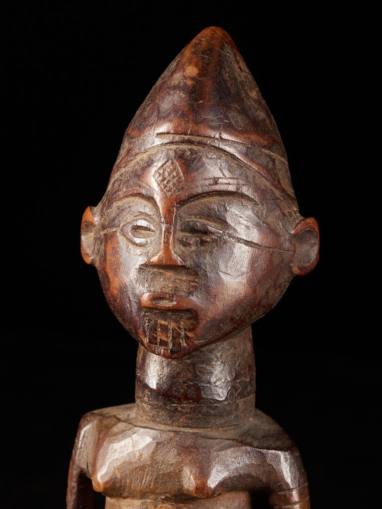 20th Century Dondo People, DRC, Wooden Statue with Scarified Body, French Private Collection For Sale