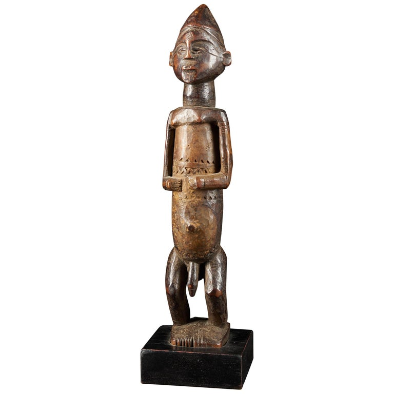 Dondo People, DRC, Wooden Statue with Scarified Body, French Private Collection For Sale