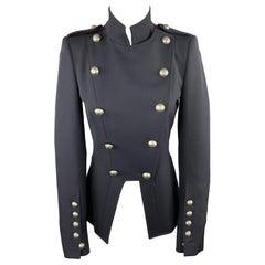 DONDUP Size 4 Navy Wool Blend Military Jacket