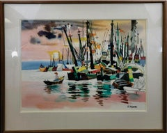 "Dong Kingman Large Original Watercolor Painting ""Sunset in Harbor"" Signed"