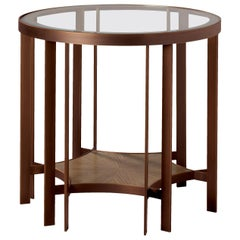 Donghia Acadia Legacy End Table in Bronze with Glass Top and Wood Shelf