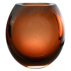 "Donghia, ""Alba"" Modern Murano Large Glass Brown Vase by Seguso Vetri d`Arte"