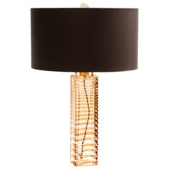 Donghia Alto Table Lamp and Shade, Murano Glass in Sepia with Handblown Ripples