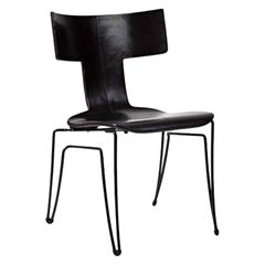 Donghia Anziano Occasional Chair in Midnight Leather