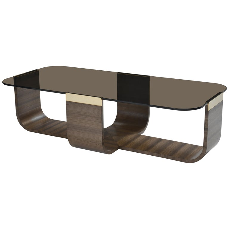 Donghia Bezel Cocktail Table with Wood Base and Glass Top in Smoke For Sale
