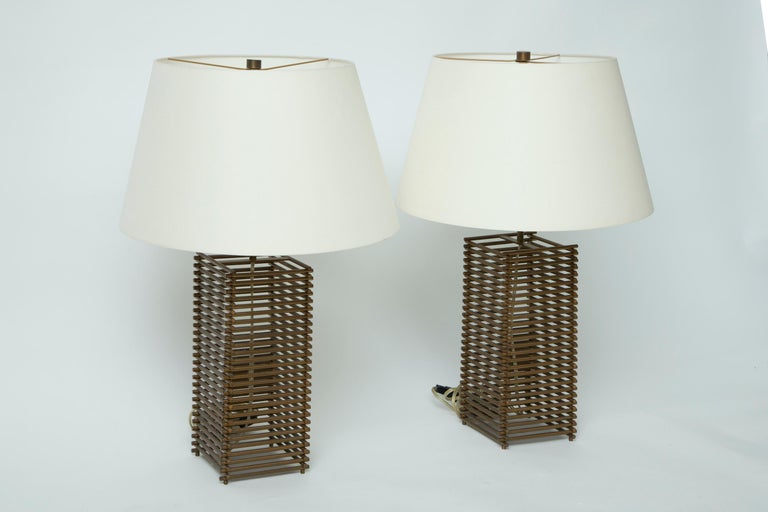 American Donghia Brass Grid Lamps For Sale