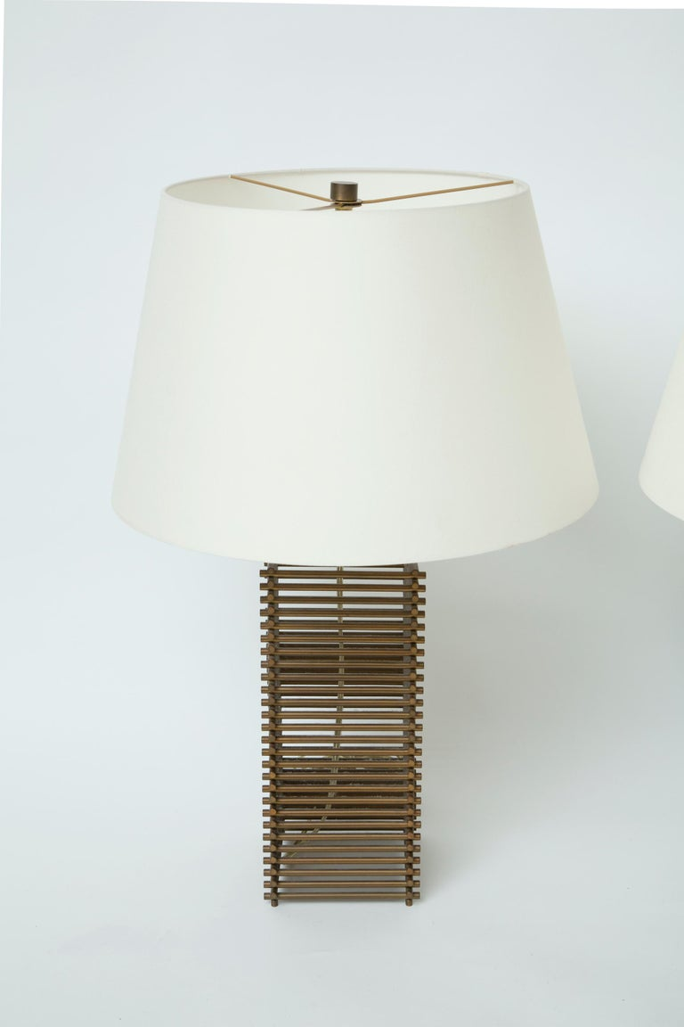 Donghia Brass Grid Lamps In Good Condition For Sale In West Palm Beach, FL