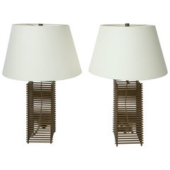 Donghia Brass Grid Lamps