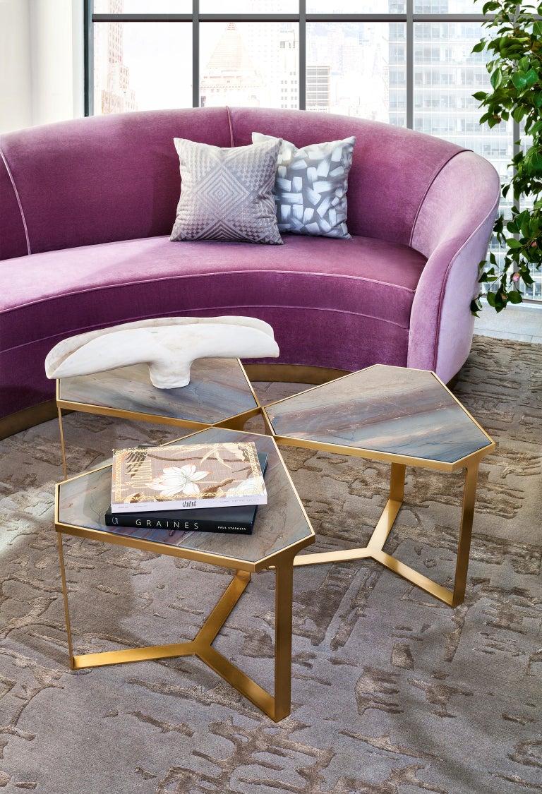 Donghia Curve Sofa in Gray Ash Mohair Velvet For Sale 5