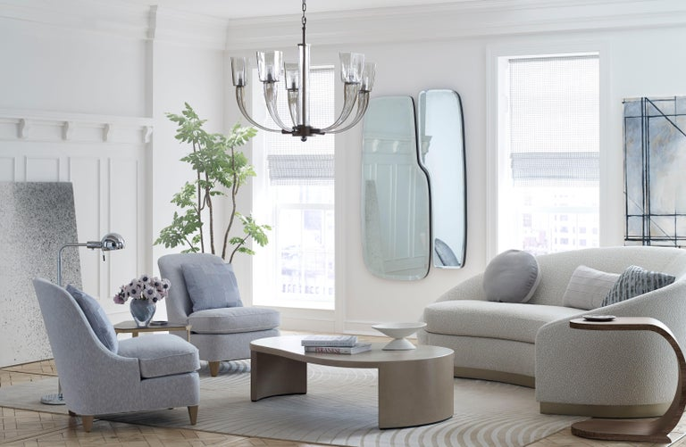 Donghia Curve Sofa in Gray Ash Mohair Velvet For Sale 7