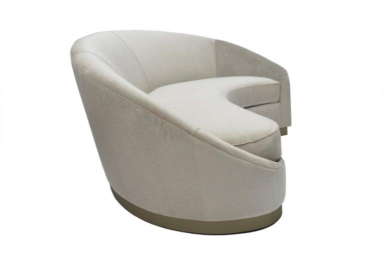 Modern Donghia Curve Sofa in Gray Ash Mohair Velvet For Sale