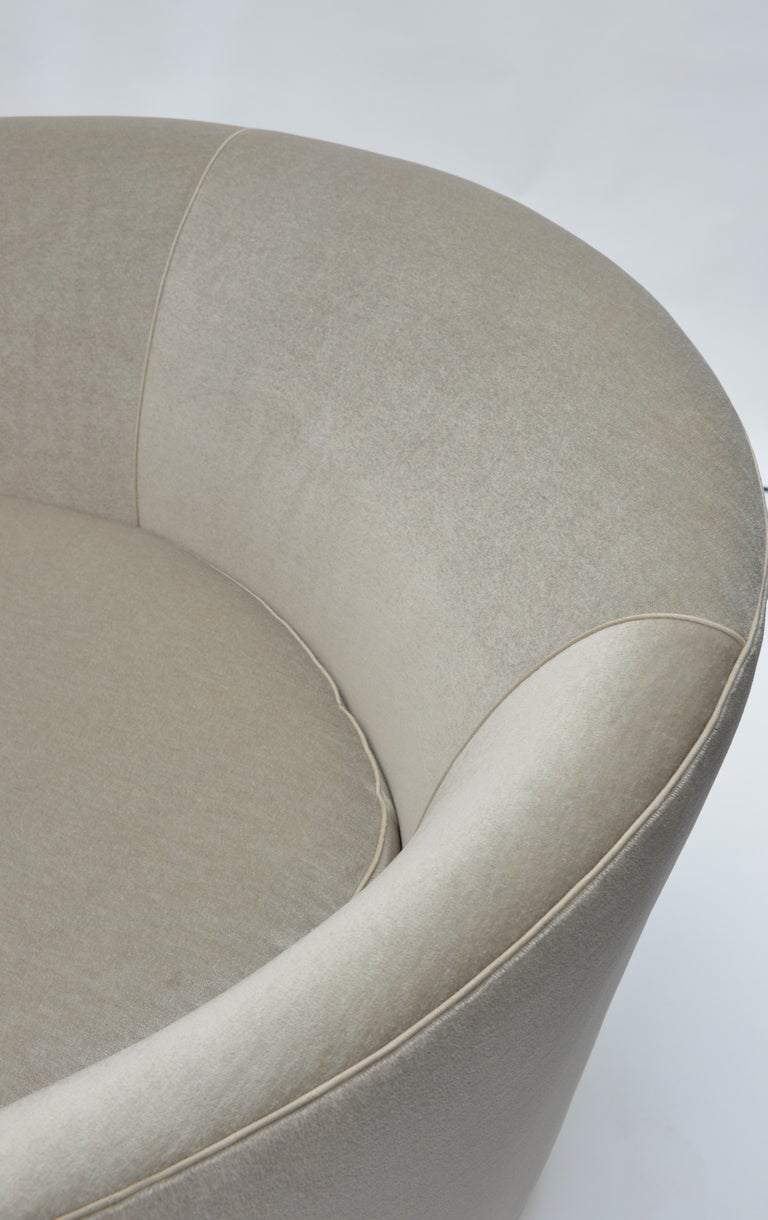 Contemporary Donghia Curve Sofa in Gray Ash Mohair Velvet For Sale
