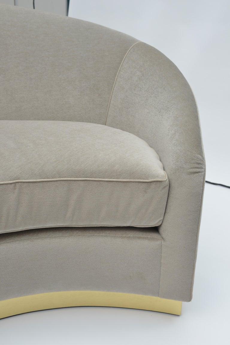 Stainless Steel Donghia Curve Sofa in Gray Ash Mohair Velvet For Sale