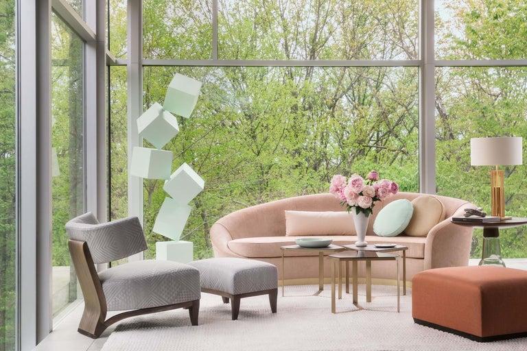 Donghia Curve Sofa in Gray Ash Mohair Velvet For Sale 1