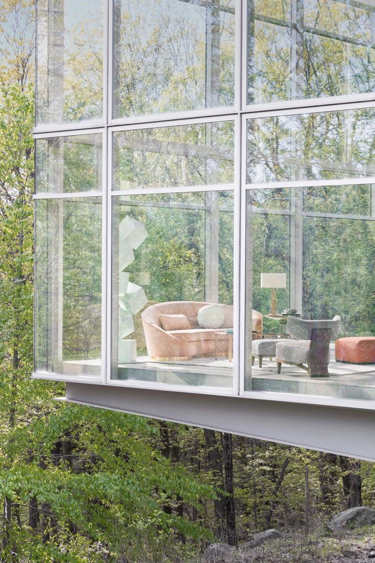 Donghia Curve Sofa in Gray Ash Mohair Velvet For Sale 2