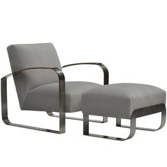 Donghia Dee Lounge Chair with Ottoman in Light Gray Patterned Velvet