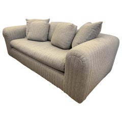 Donghia Designed by John Hutton Gray Wool Sofa with Channel Stitching