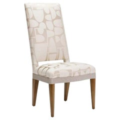Donghia Dilorenzo Side Chair in Beige Silk and Wool Upholstery