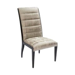 Donghia Fiona Side Chair in Light Khaki Cotton Upholstery