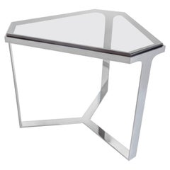 Donghia Forma Table with Chromed Base and Gray Glass Top