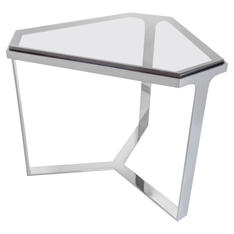 Donghia Forma Table with Chromed Base and Gray Glass Top For Sale