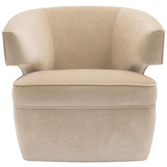 Donghia Lana Club Chair with Swivel in Ivory Cotton Velvet