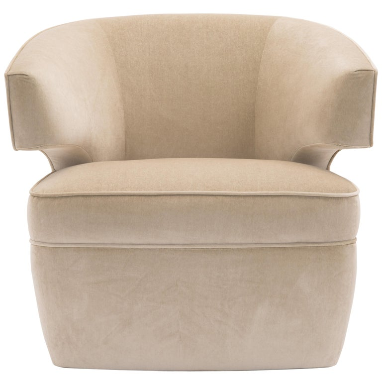 c1d013eaf0e7c Donghia Lana Club Chair with Swivel in Ivory Cotton Velvet For Sale. Fully  upholstered club ...