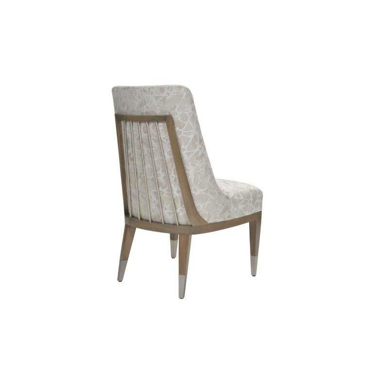 Modern Donghia Lariat Dining Chair in Fossil White Patterned Cotton Upholstery For Sale