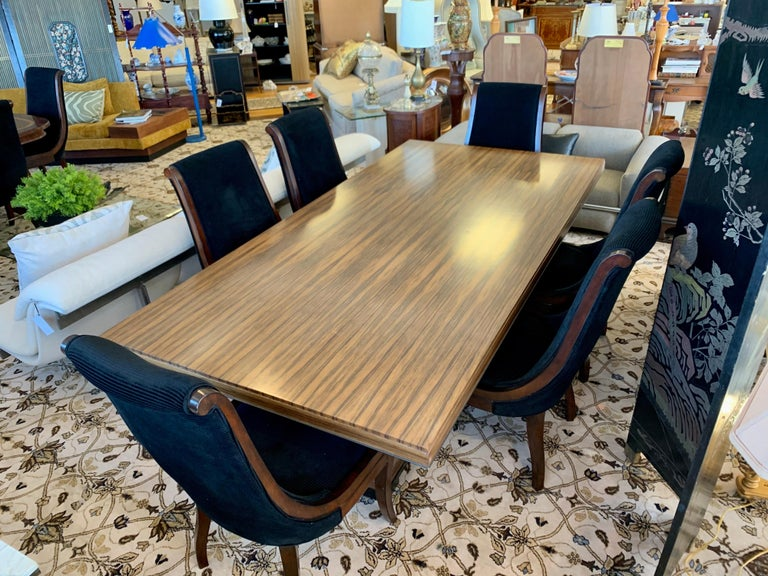 Italian Donghia London Laurent Eight Foot Dining Room Table and Six Henredon Chairs For Sale