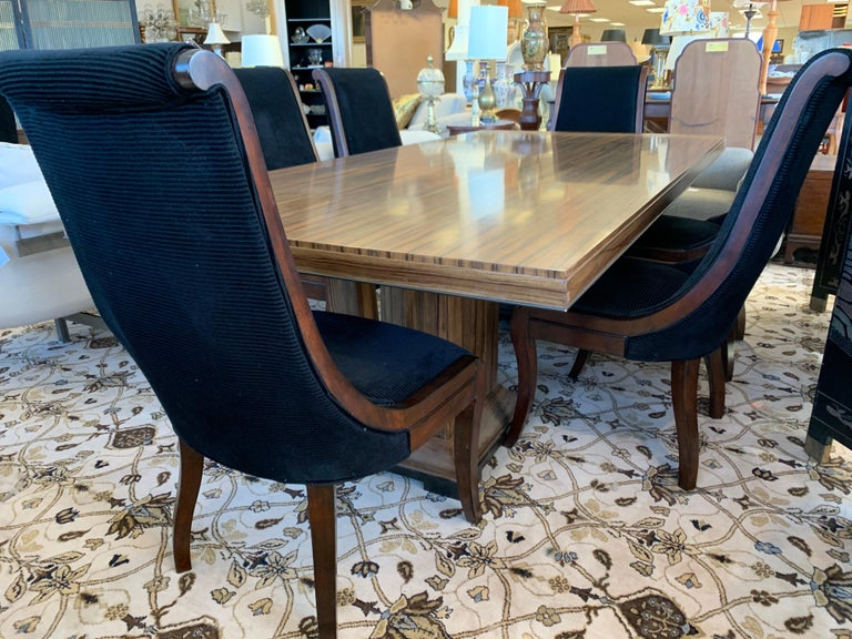 Donghia London Laurent Eight Foot Dining Room Table and Six Henredon Chairs In Good Condition For Sale In West Hartford, CT