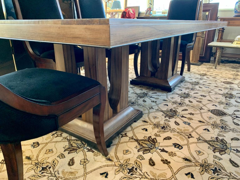 Contemporary Donghia London Laurent Eight Foot Dining Room Table and Six Henredon Chairs For Sale