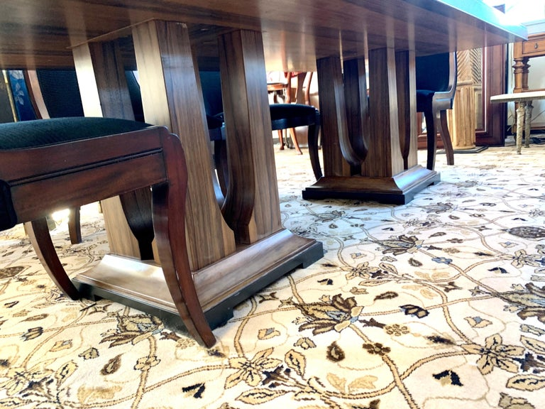 Fabric Donghia London Laurent Eight Foot Dining Room Table and Six Henredon Chairs For Sale
