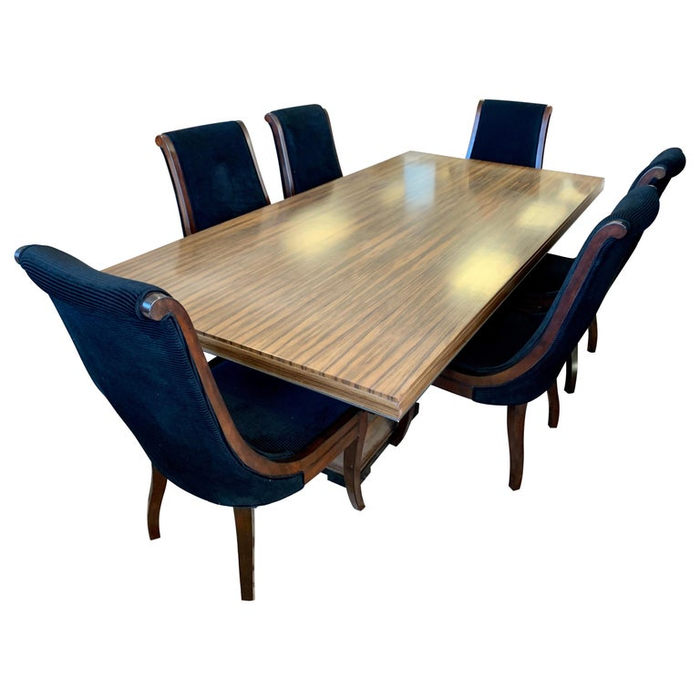 Donghia London Laurent Eight Foot Dining Room Table and Six Henredon Chairs For Sale